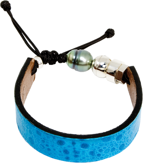 Aqua blue cane toad bracelet withTahitian pearl and a Romeo J. sterling silver bead