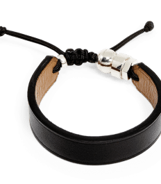 Black genuine leather bracelet with Romeo J. sterling silver bead