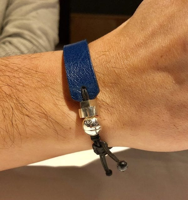 Blue genuine leather bracelet with Romeo J. sterling silver bead