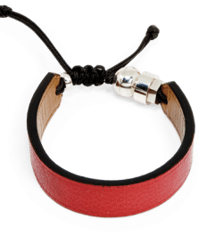Red genuine leather bracelet with Romeo J. sterling silver bead