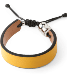 Yellow genuine leather bracelet with Romeo J. sterling silver bead