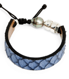 Blue grey exotic fish scale bracelet with Tahitian pearl and Romeo J. sterling silver bead