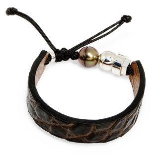 Brown crocodile bracelet with Tahitian pearl and sterling silver Romeo J.bead