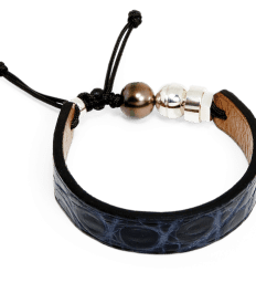 Dark blue crocodile bracelet with Tahitian pearl and sterling silver Romeo J. bead