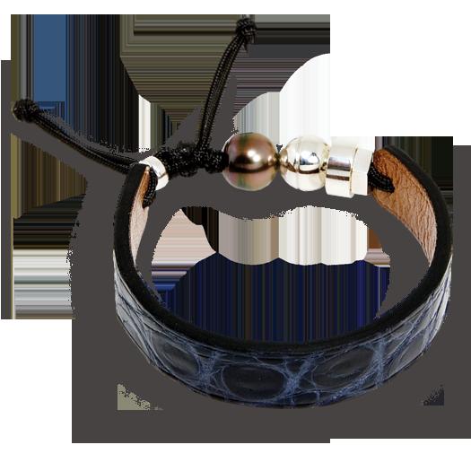 Dark blue crocodile bracelet with Tahitian pearl and sterling silver Romeo J. bead