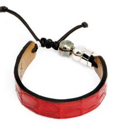 Red crocodile bracelet with Tahitian pearl and Romeo J. sterling silver bead