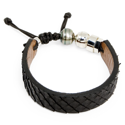 Black python snake bracelet with Tahitian pearl and sterling silver bead