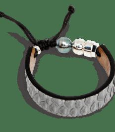Bracelet en peau de serpent python gris avec perle de Tahiti et bille en argent sterling Romeo J.