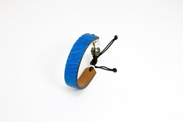 Blue ostrich leather bracelet with Tahitian pearl and Romeo J. Sterling silver bead