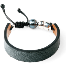 Grey ostrich bracelet with Tahitian pearl and sterling silver bead