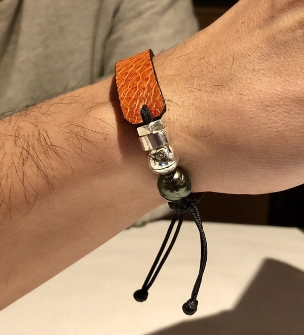 Orange ostrich leather bracelet with Tahitian pearl and Romeo J. Sterling silver bead