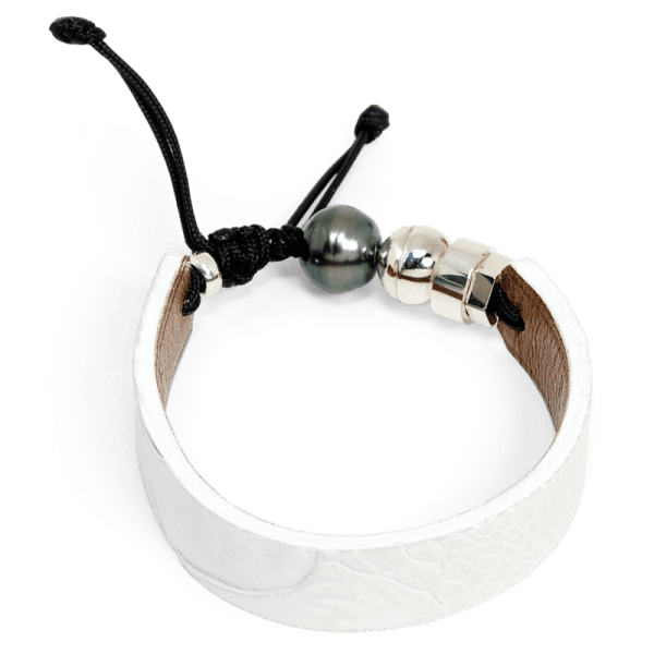 White ostrich leather bracelet with Tahitian pearl and Romeo J. sterling silver bead