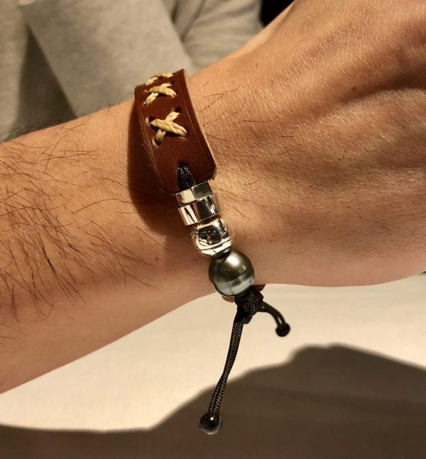 Brown genuine leather bracelet