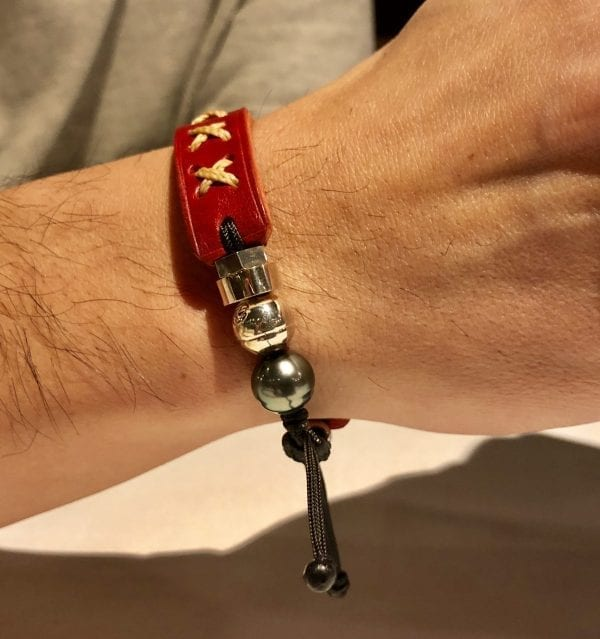 Red genuine leather bracelet