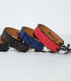 Collection of handmade crocodile leather bracelets