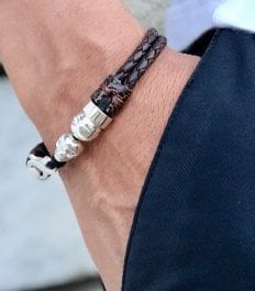 Leather breaded bracelet with 925 Sterling silver skull , bead and clasp de mort