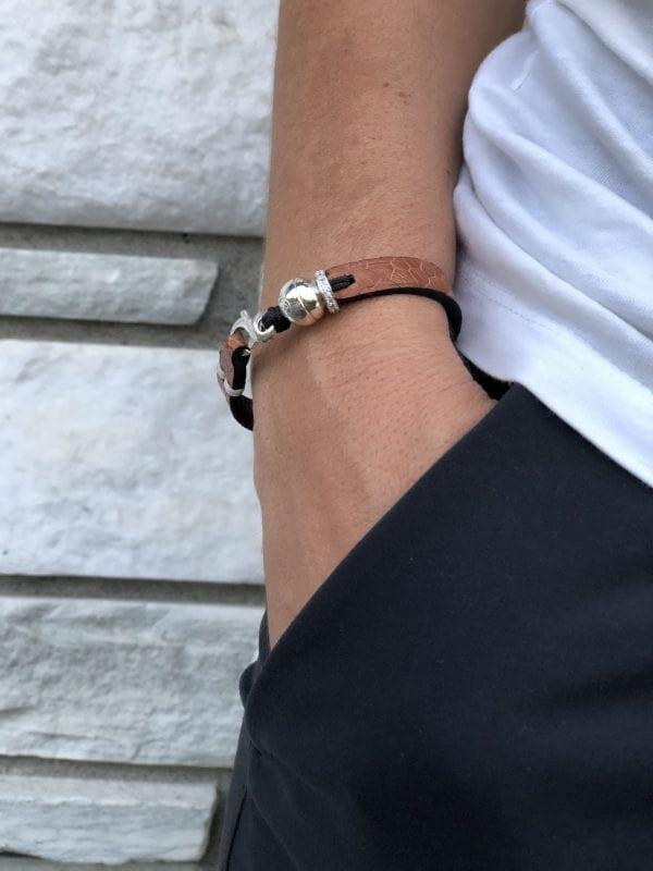 Cognac ostrich Sabrina bracelet with swarvoski and Romeo J. sterling silver bead