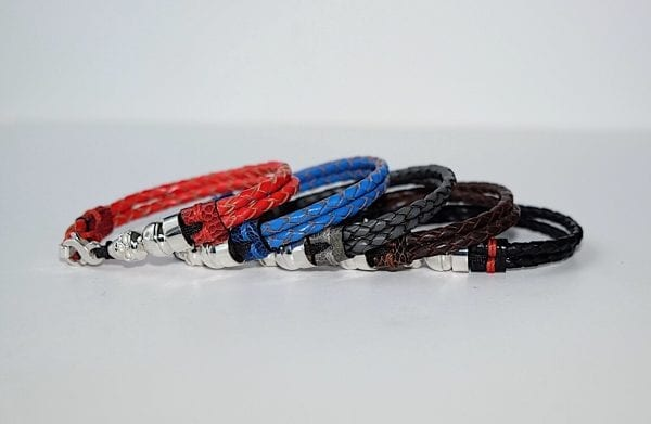 Double braided leather bracelets with skull