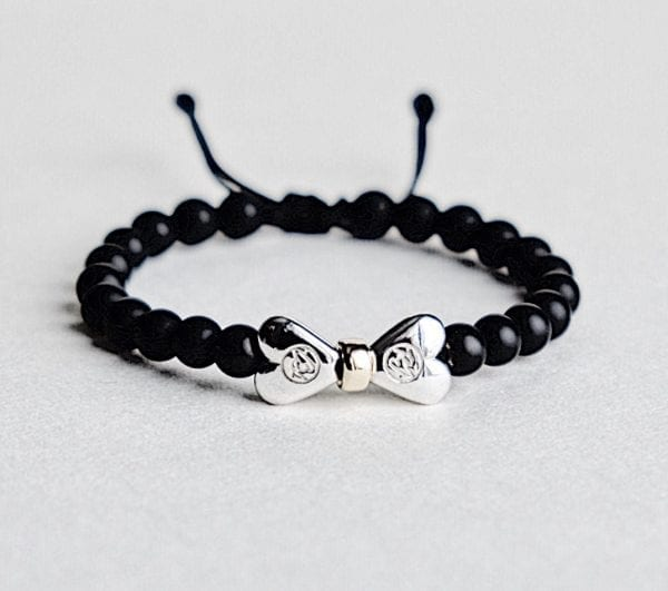 Onyx bracelet with two 925 sterling silver hearts