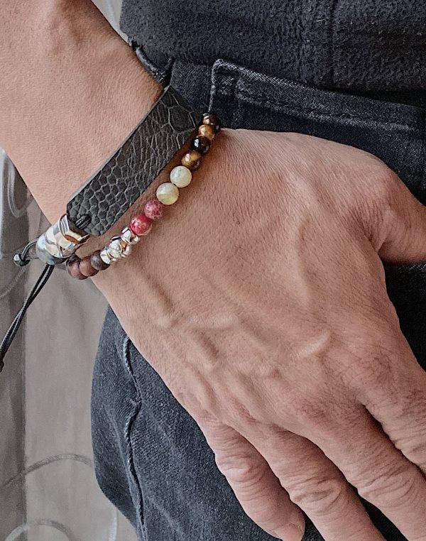 Combo of ostrich bracelet and semi-precious beads bracelet