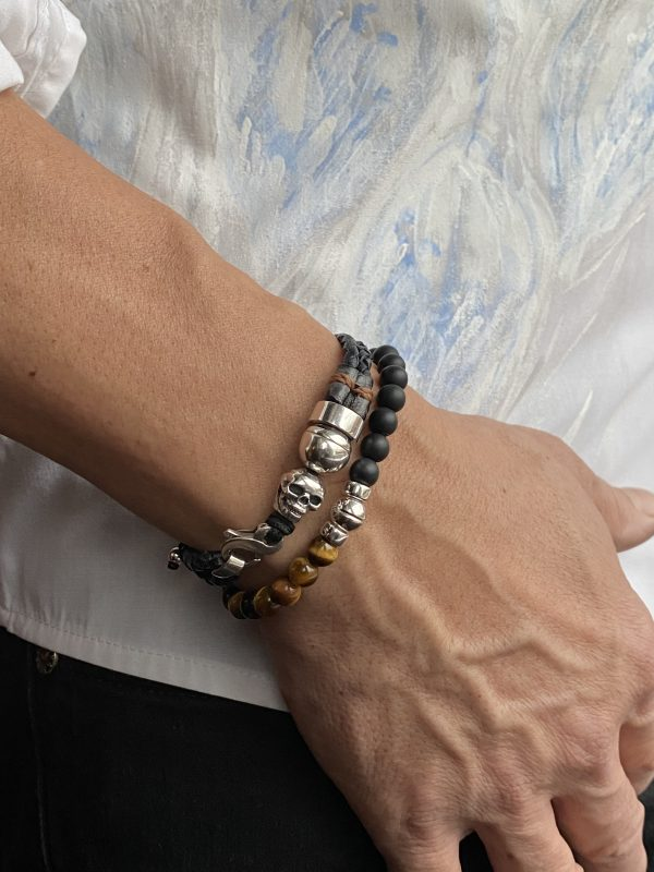 Combo of double braided bracelet and semi-precious bracelet