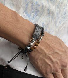 Combo of python bracelet and semi precious stone bracelets