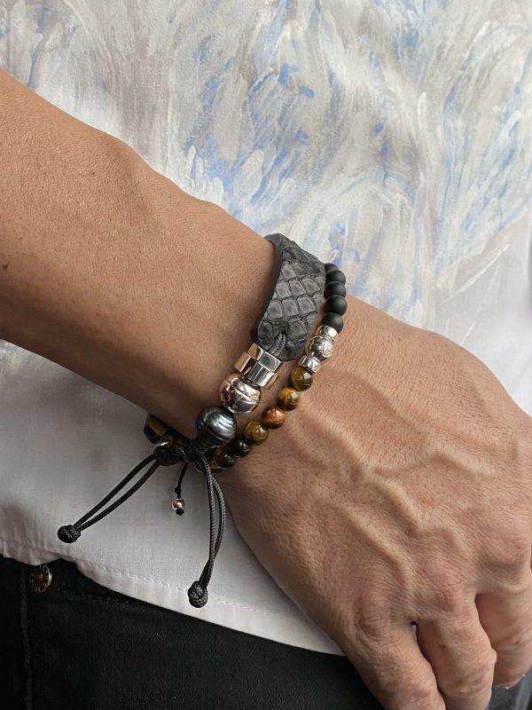Combo de bracelets en cuirs exotiques