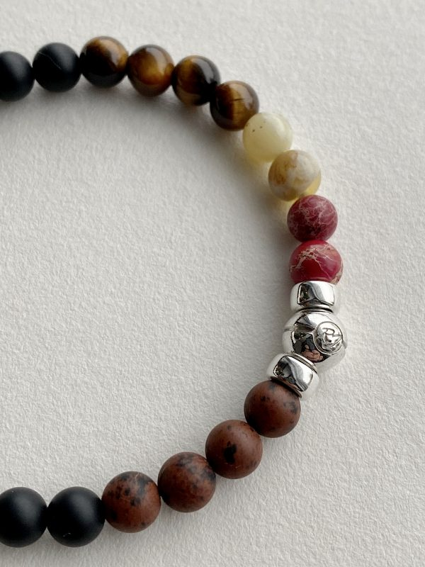 Semi-precious beaded bracelet with onyx opal , tiger oeil