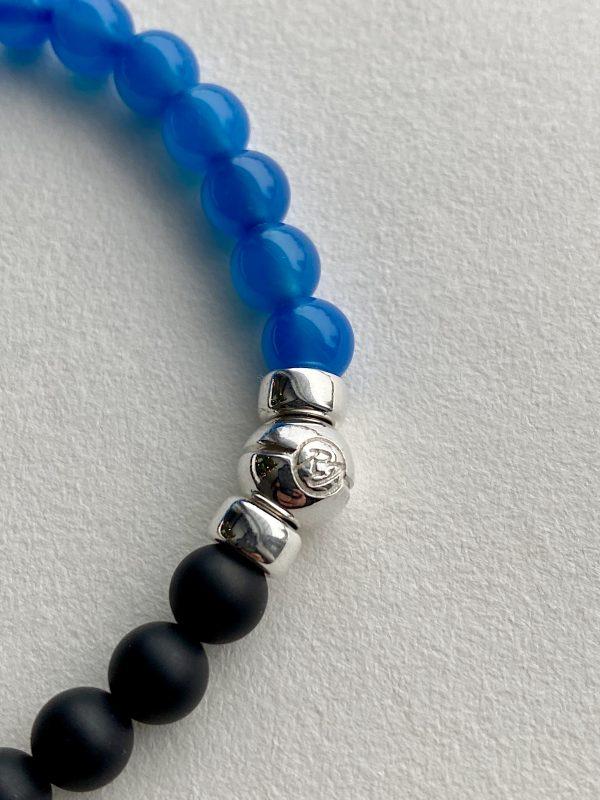 Bracelet en onyx et jaspe bleu