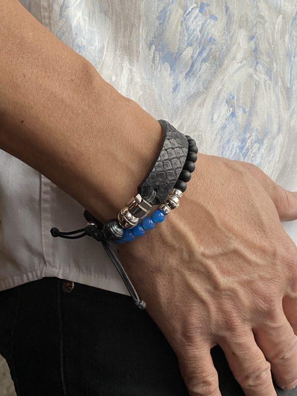 Combo of python bracelet with onyx and blue jade bracelet