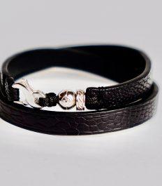 Bracelet gentleman en cuir noir d'autruche