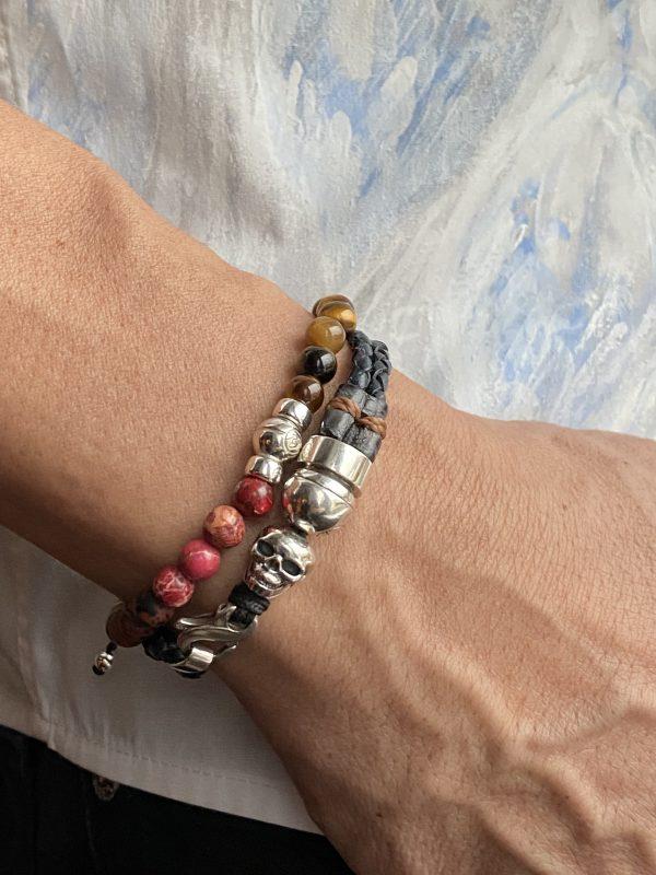 Combo of double braided bracelet and semi-precious bracelet