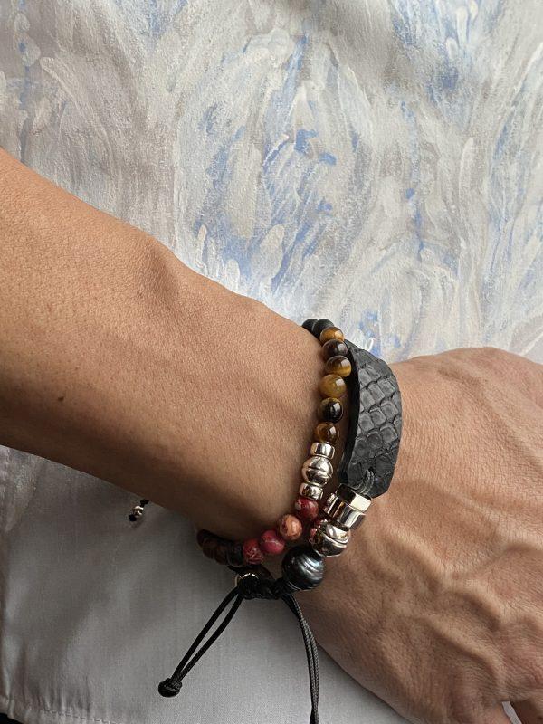Black Python bracelet with semi-precious beaded bracelet