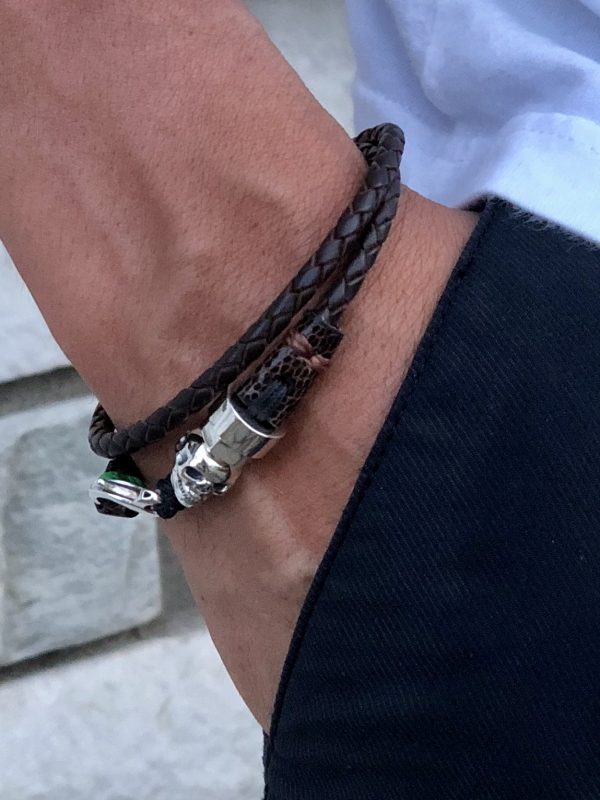 Double turn black leather bracelet with sterling silver skull