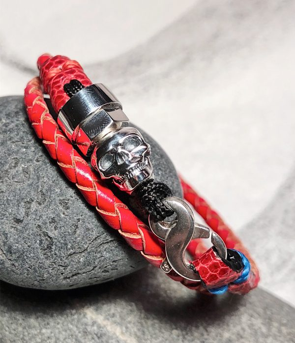 Double turn red leather bracelet with sterling silver skull