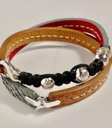 Cognac ostrich and grey python double wrap bracelet