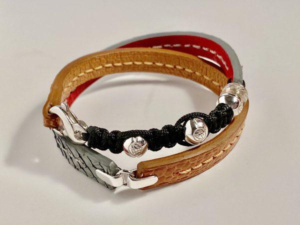 Cognac ostrich and grey python double wrap bracelet