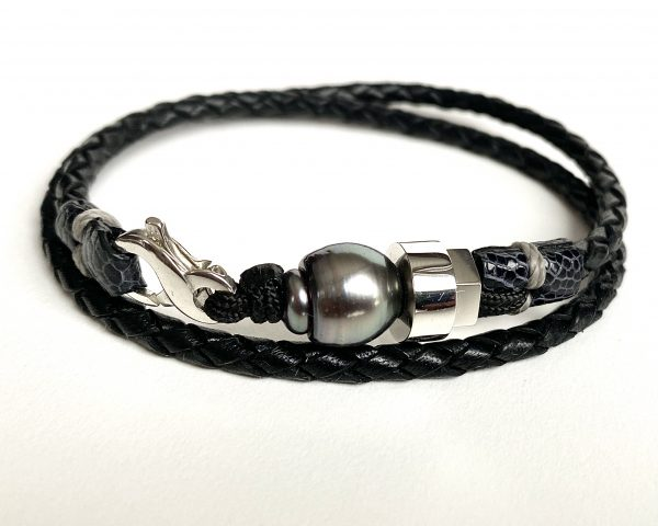 Bracelet en cuir tressé avec perle de Tahiti