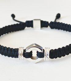 Romeo J. Men bracelet in macrame with sterling silver components